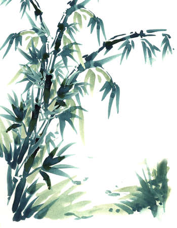 brush in: Chinese brush painting bamboo. Water color painting in chinese brush style. With beautiful black and green color of bamboo.
