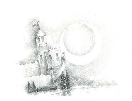 dreamy fairly tales castle drawing illustration