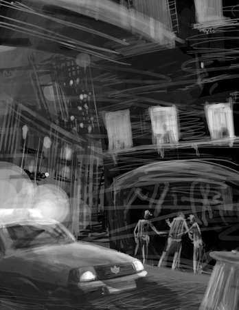 polices arrest scene at night illustration