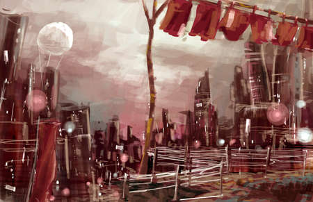 old city concept drawing, red cloudy night