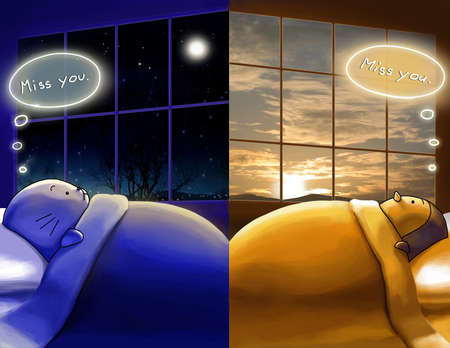 Illustration showing two people (creatures) living in different side of the world. When sun dawn at one side another side is night time. They are missing each other even they are far apart