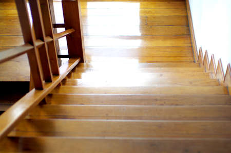 shiny wood stair with reflection photo