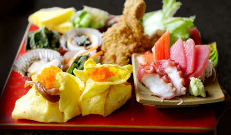 beautiful, colorful Japanese food set photo