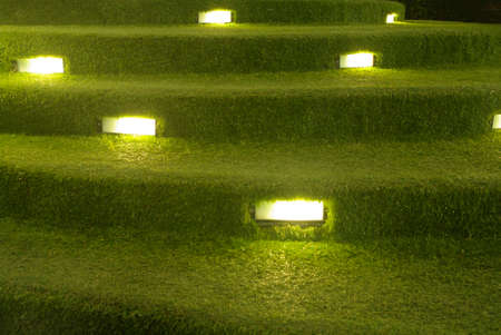 artificial grass decoration with lighting detail photo