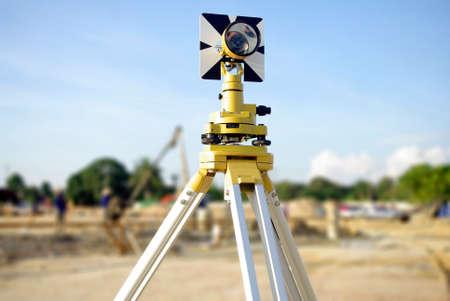 surveyors: engineer and architecture yellow theodolite camera Stock Photo