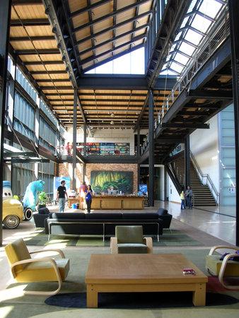 Pixar studio, interior loft lobby