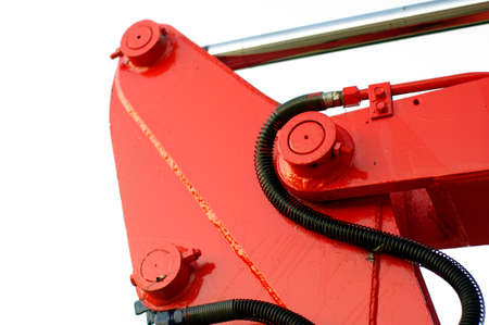 red mechanic parts crane and tractor detail, dozer photo