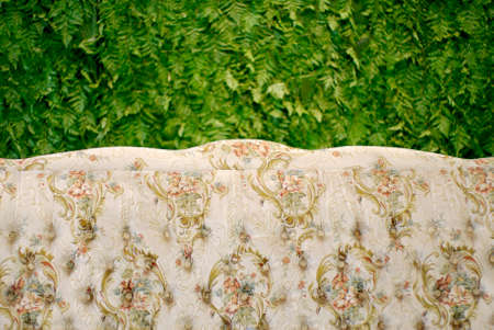 classic sofa with floral patternand green fern texture background photo