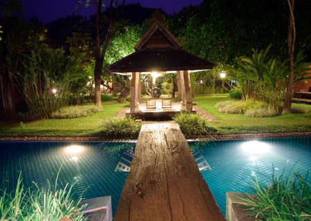 tropical resort by the pool at night