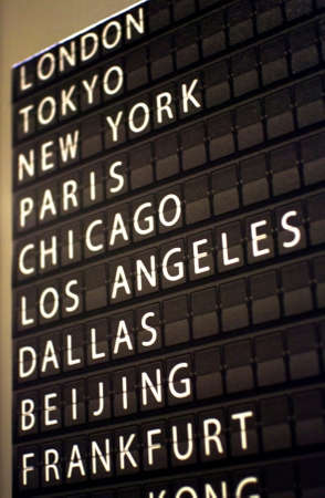 airport flip board with world capital cities name photo