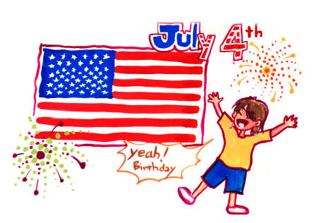 immigrant: 4th of july chinese immigrant celebration illustration