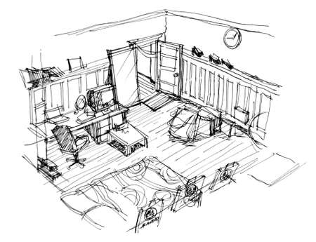 interior apartment hand doodle sketch photo