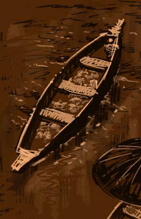 floating market boat illustration brown Stock Photo