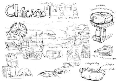 chicago attractions and famous things illustration Stock Photo