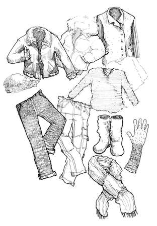 mens clothing: winter clothes black and white hand illustration Stock Photo