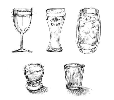 drinks glasses sketch, doodle illustration illustration