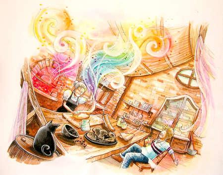 fairy tale illustration. baking rainbow bread in the witch hut illustration