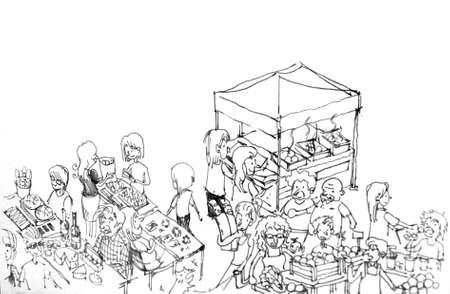 日曜日の農民市場漫画人図 写真素材