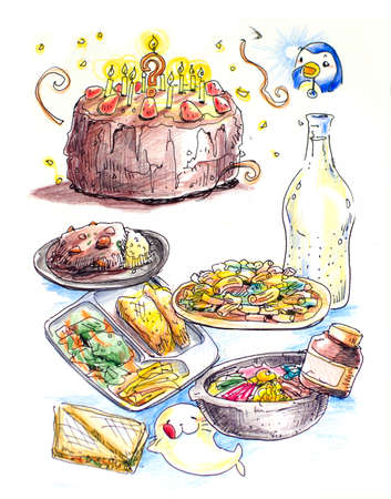curry: food colorful illustration, cake, curry, steak and sandwich