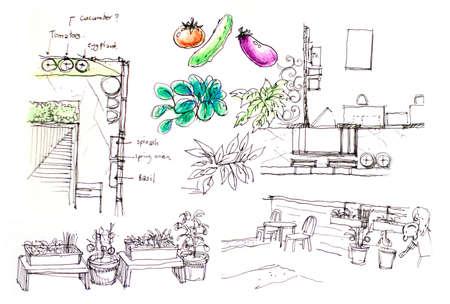 urban backyard vegetable garden planning cartoon illustartion Stock Photo