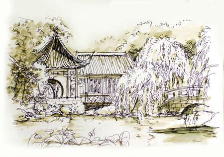 chinese garden beautiful hadn illustration