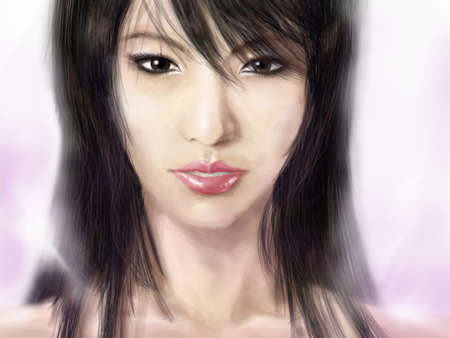 beautiful asian girl illustration illustration