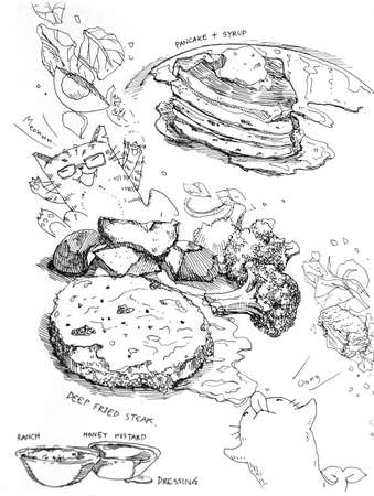 pancake and syrup and steak with vegetable, tasty fastfood illustration