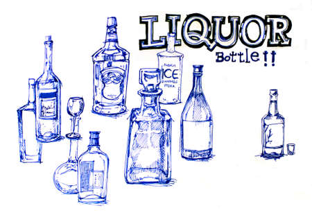liquor bottles line drawing illustration illustration