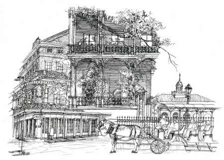 La Nouvelle-Orléans illustration dessin d'architecture Banque d'images - 28327785
