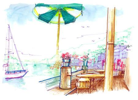 upscale: Sausalito pier beautiful illustration, San Francisco, California, USA
