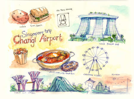 marina bay sand: singapore travel, landmark, places and food illustration