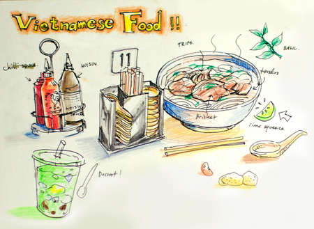 vietnamese food color illustration illustration