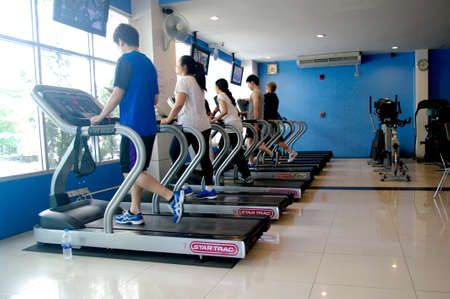 people running at the blue gym