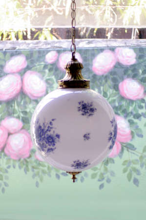 antique blue chinese style round lamp photo