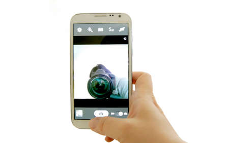 inception: inception of selfie concept, photographer selfie in mobile phone