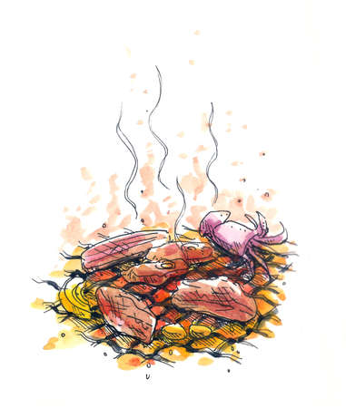 bbq party, charcoal barbeque illustration Stock Photo