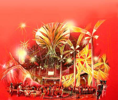 everywhere: Casino lounge concept design illustration casino game zone concept design. red and gold, money sparkling everywhere.