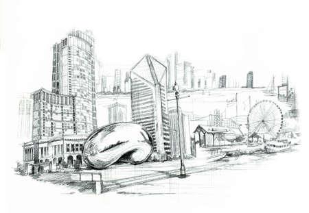 시카고 도시 illustartion