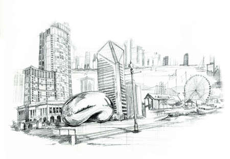 millennium wheel: Chicago city illustartion