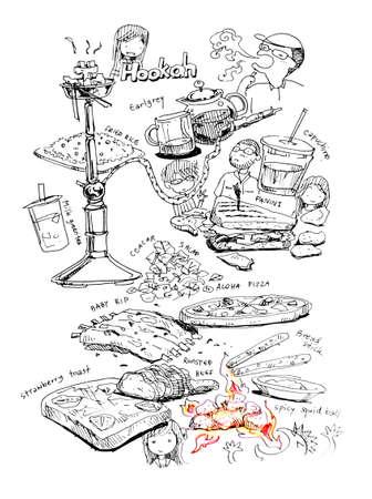 food, drinks, hookah and friends illustration illustration