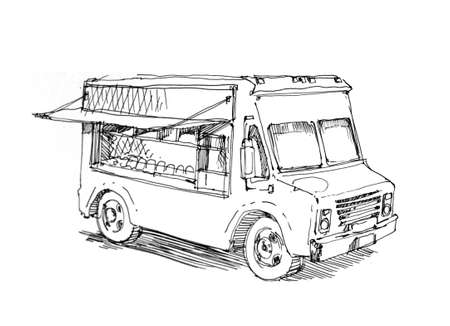 van: food truck illustration fast meal  Stock Photo