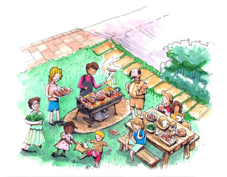 family outside house: Barbecue party at the yard illustration  Family and friends barbecue  Stock Photo