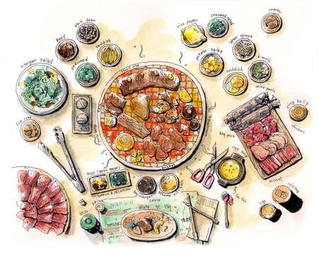 한국어 바베큐 그림 물 색