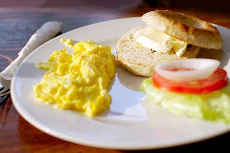 full breakfast, scramble egg cream cheese bagel  photo