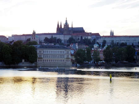Prague silhouette, Czech republic in the evening photo