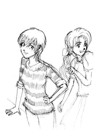girls illustration cartoon, manga style illustration
