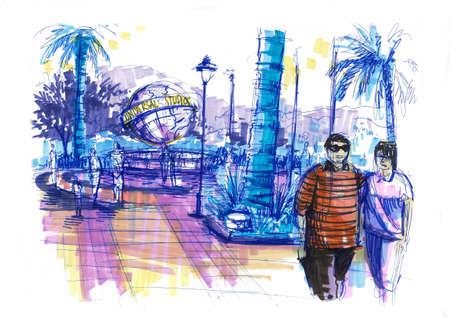 universal studio city walk, theme park illustration