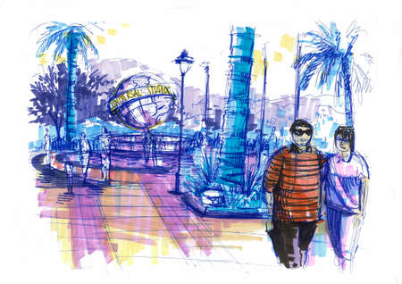 universal studio city walk, theme park illustration