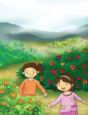 smelling: girl with flower in the mountain illustration Stock Photo