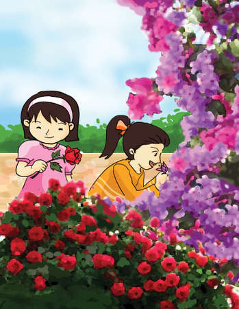 smelling: young girls with colorful flower, smell illustration